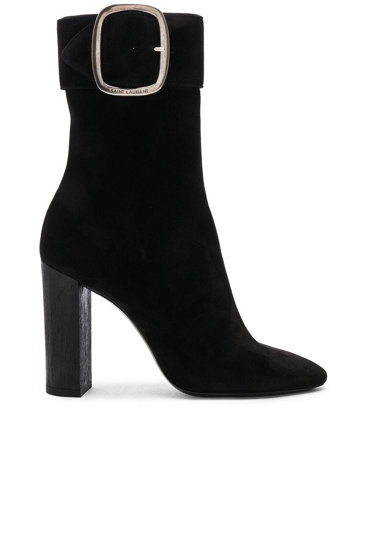 c5781879 Saint Laurent Suede Joplin Buckle Boots in Black   FWRD   Nothing ...