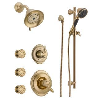 Photo of Delta DSS-Victorian-17T03CZ champagne bronze TempAssure 17T series thermostatic shower system with integrated volume control, shower head, 3 body sprays and hand shower – contains rough-in valves