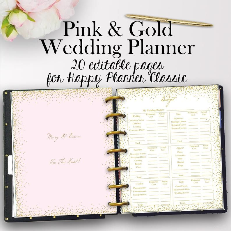 Happy Planner Wedding Planner Template PDF Editable