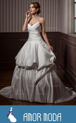 Wedding Dress With Ruffle - Ball-Gown Sweetheart Sweep Train Satin