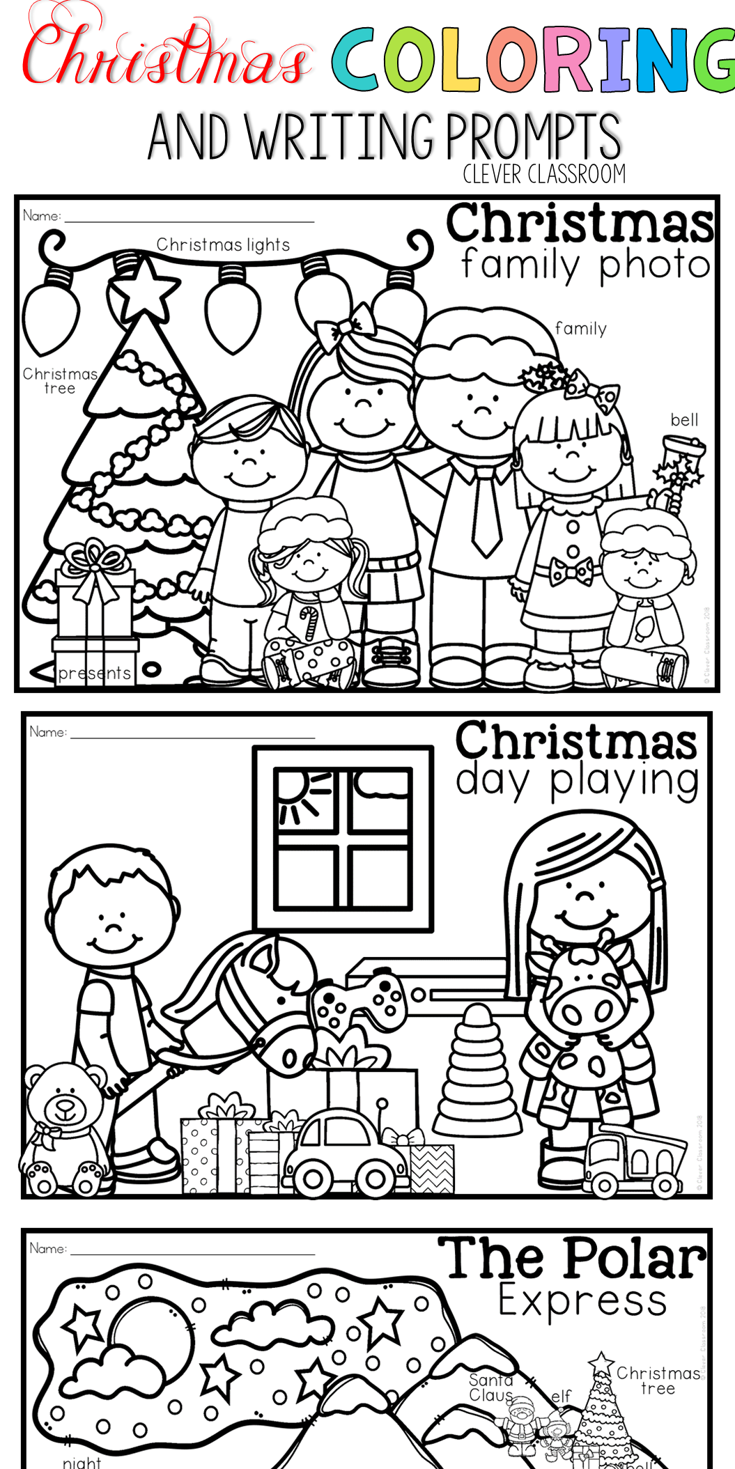 Christmas Coloring Pages And Writing Prompts