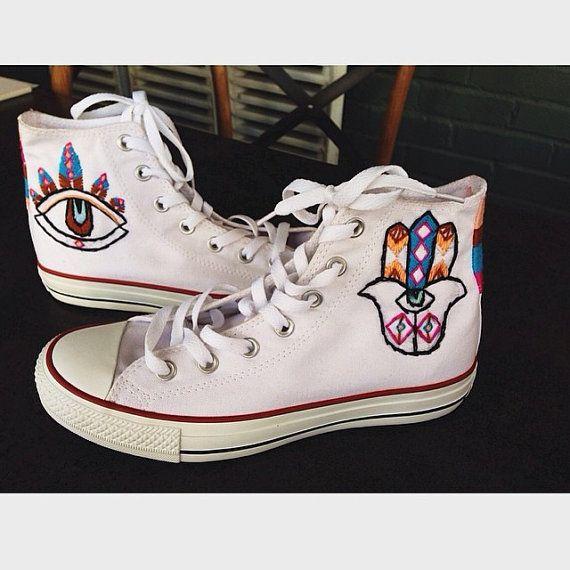 Evil Eye Hamsa Custom Embroidered Converse Sneakers