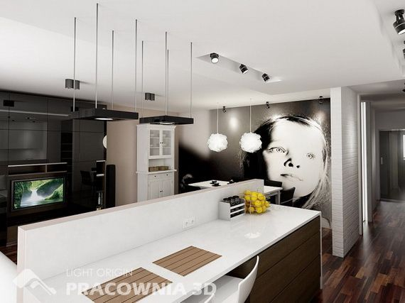 Ideen Kleine Wohnung Offene Küche Fototapete | Küche | Pinterest ... Kleine Kuche Im Wohnzimmer