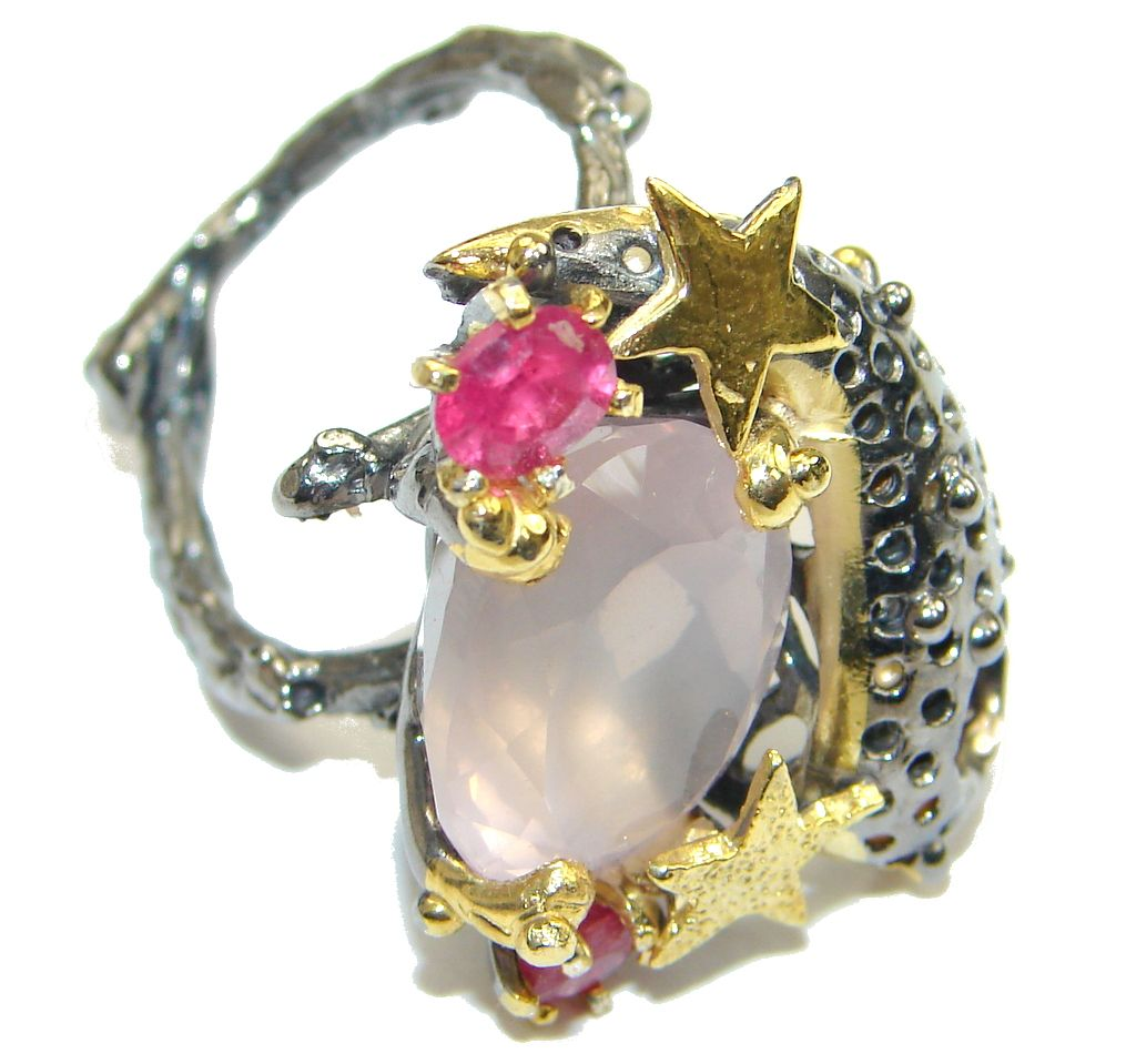 $72.15 Beautiful! Rose Quartz, Gold Plated, Rhodium Plated Sterling Silver Ring s. 7 1/4 at www.SilverRushStyle.com #ring #handmade #jewelry #silver #quartz