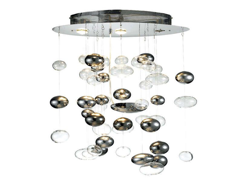Lustre BULLIES - Vente de Lustre et Suspension - Conforama 249 € 4 ampoules  de 50W, base chromées