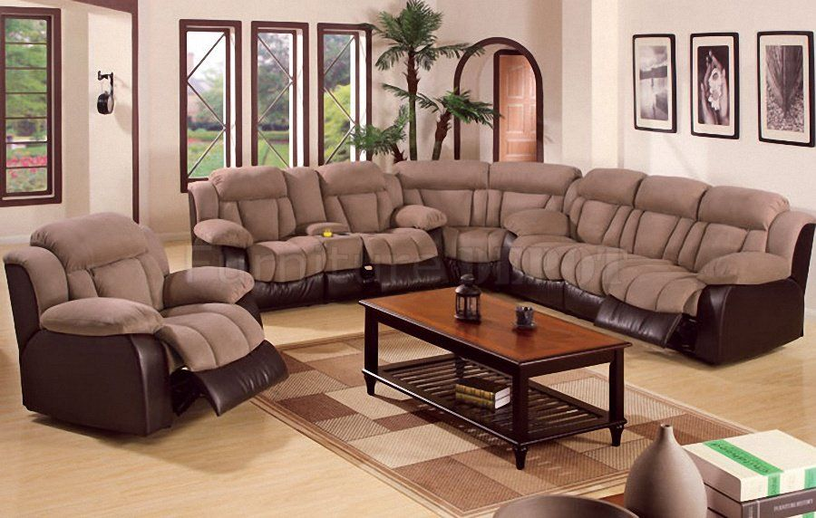 Bon Sectional Recliner Sofa With Cup Holders In Saddle Microfiber