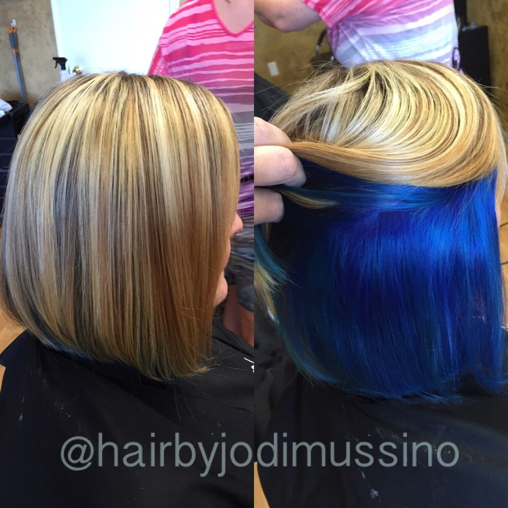 Love this peekaboo blue highlights on top and vibrant blue on the