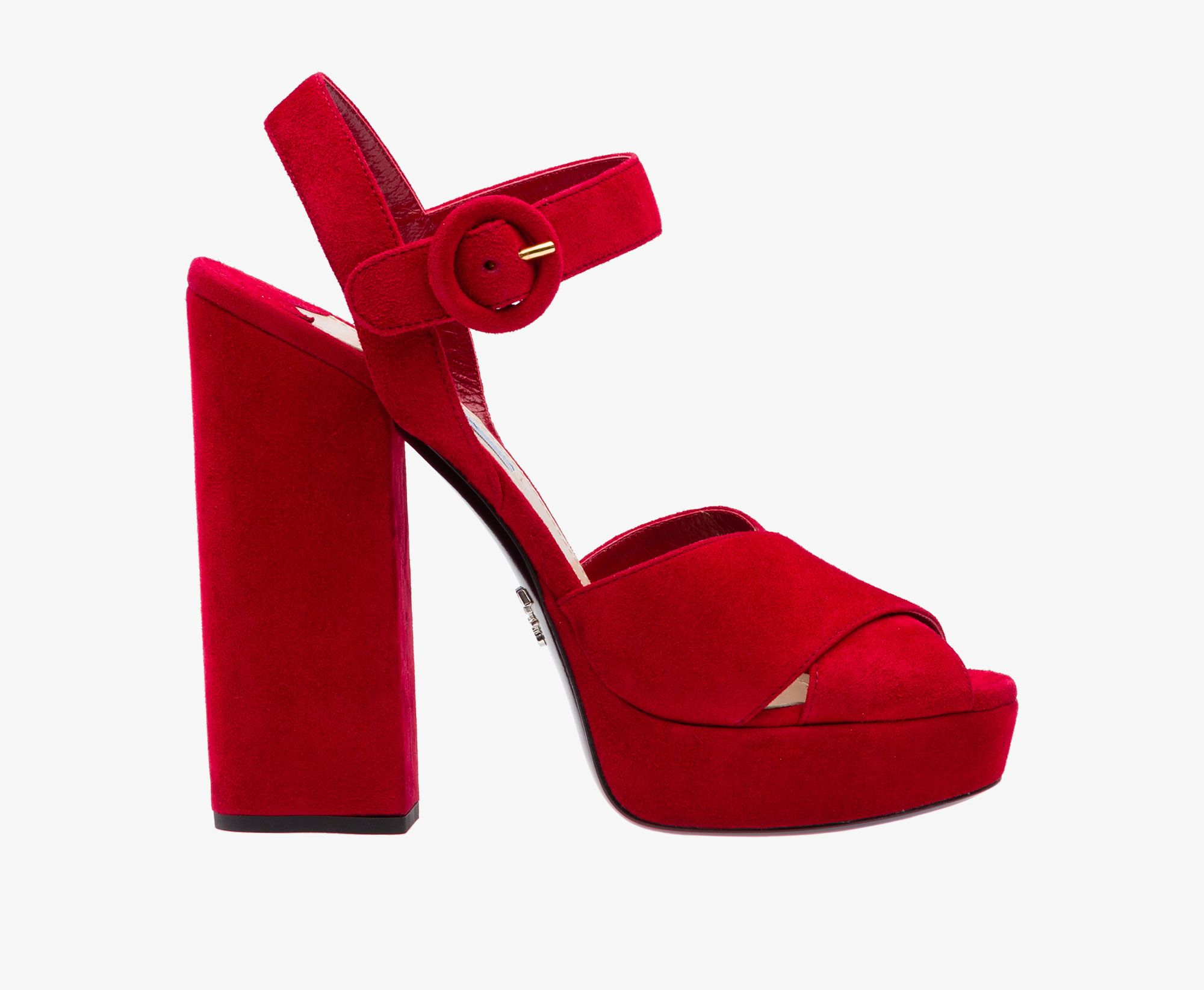 4784f335118 Suede platform sandal Crisscross bands Strap with covered buckle 130mm  column heel Leather sole with nonslip injected rubber insert