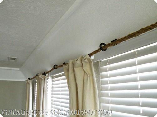 Rope Curtain Rod Tutorial Diy Curtains Curtain Rods Diy Curtain Rods