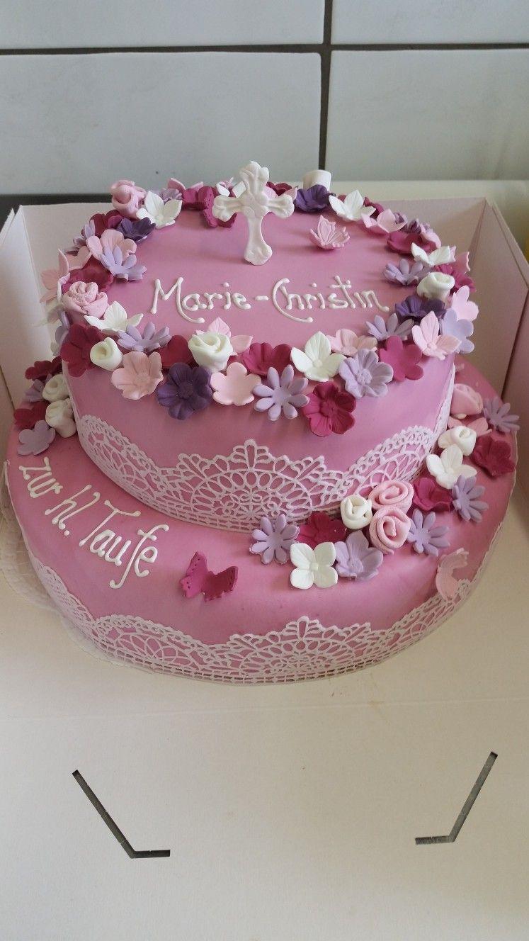Tauftorte Madchen Zuckerblumen Essbare Spitze Madchentraum Motivtorte Christening Cake Taufe Kuchen Madchen Taufe Kuchen Zuckerblumen
