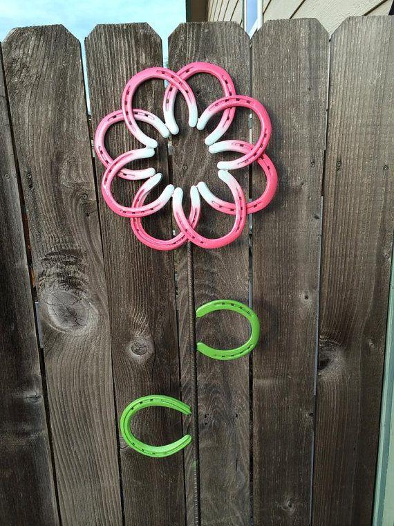 Horseshoe Flower Garden Art By Davishomedecorstore On Etsy