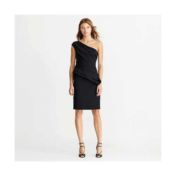 Ralph Lauren One Shoulder Peplum Dress 194 Liked On Polyvore Featuring Dresses White Asymmetrical Ruched