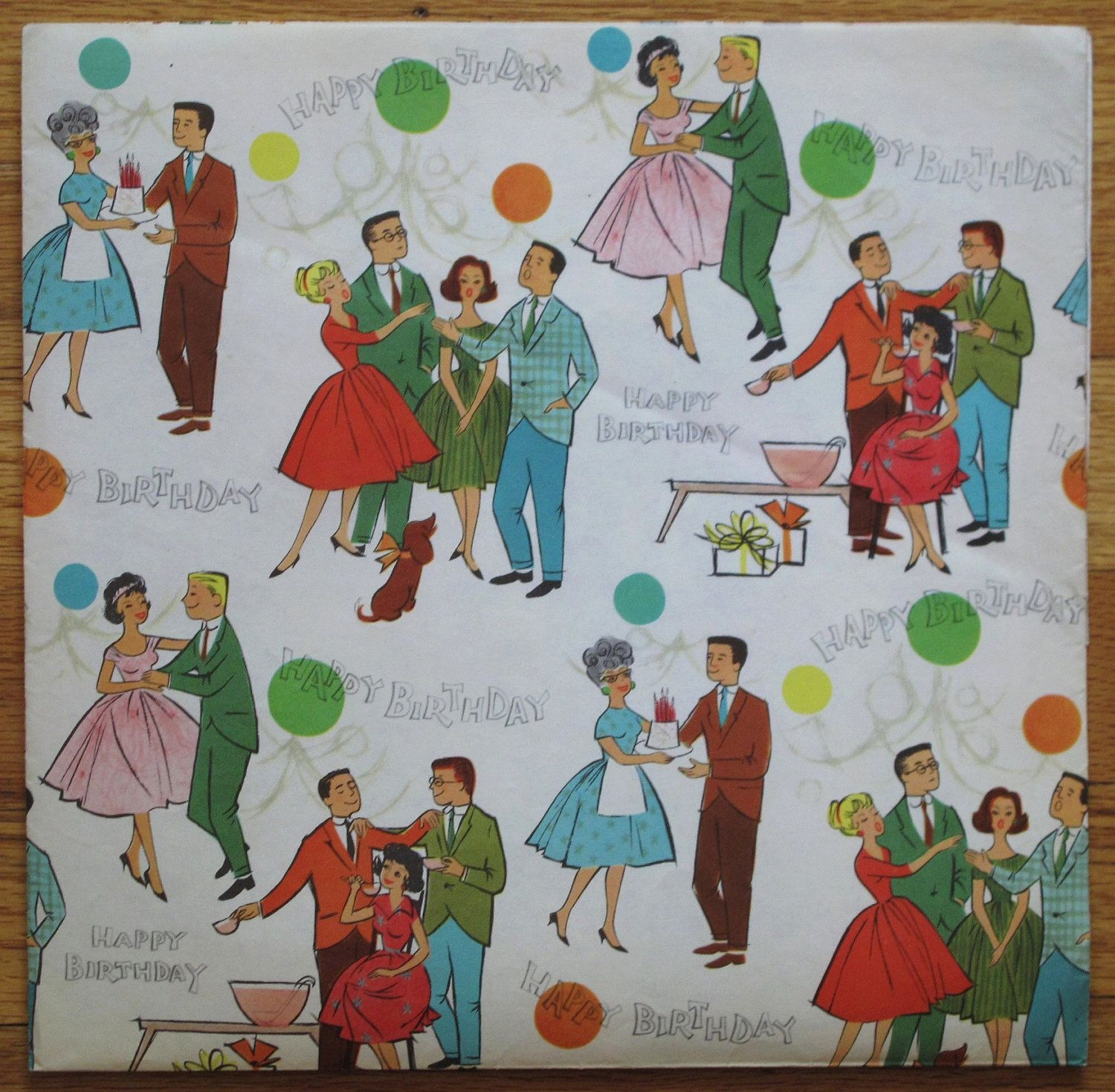 Vintage BIRTHDAY Gift Wrap Wrapping Paper MAD MEN Party Mid Century Illustration 1950s 1960s