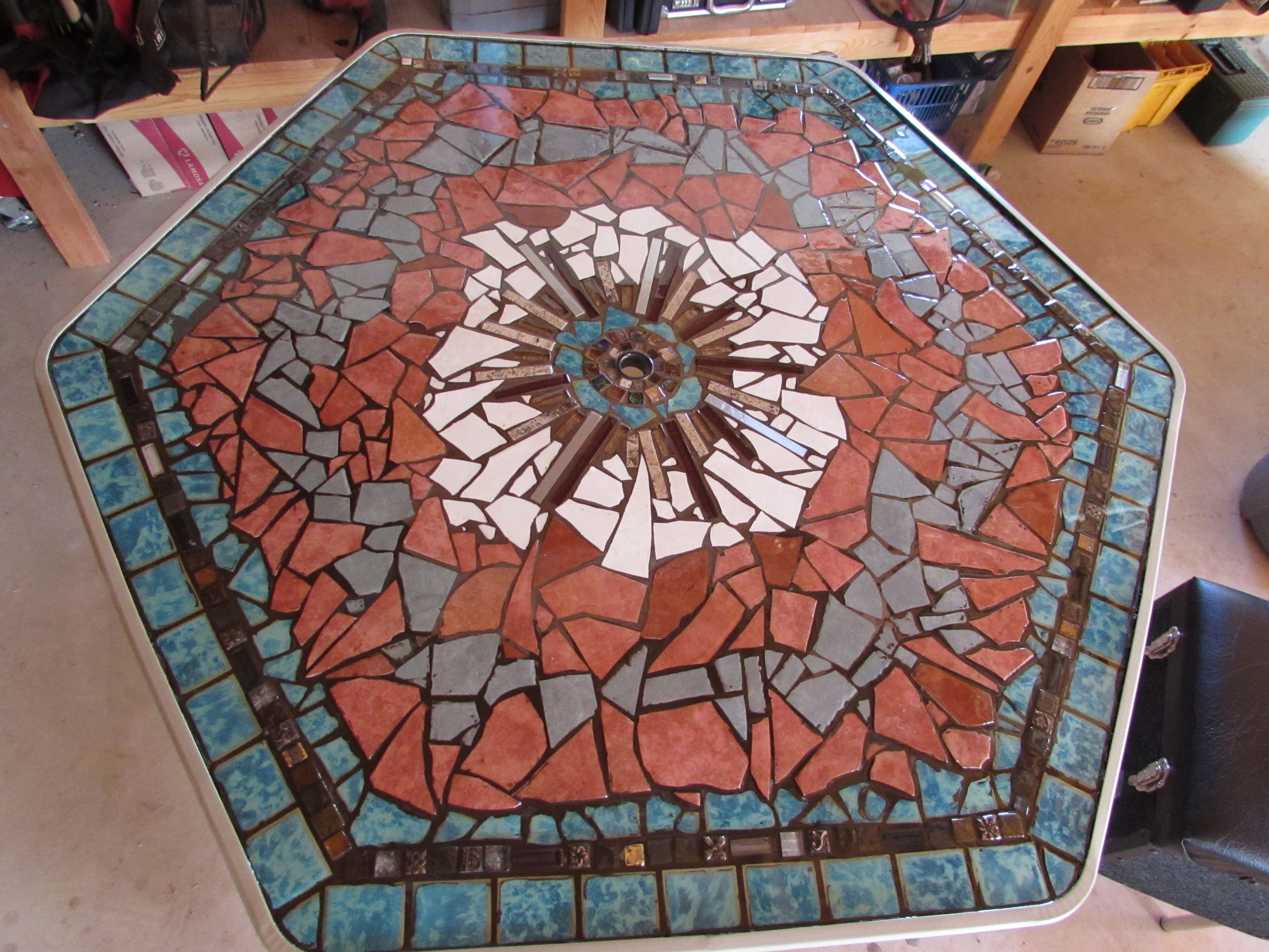 mosaic table top made on a plywood backing to replace a glass top table that was broken in a. Black Bedroom Furniture Sets. Home Design Ideas