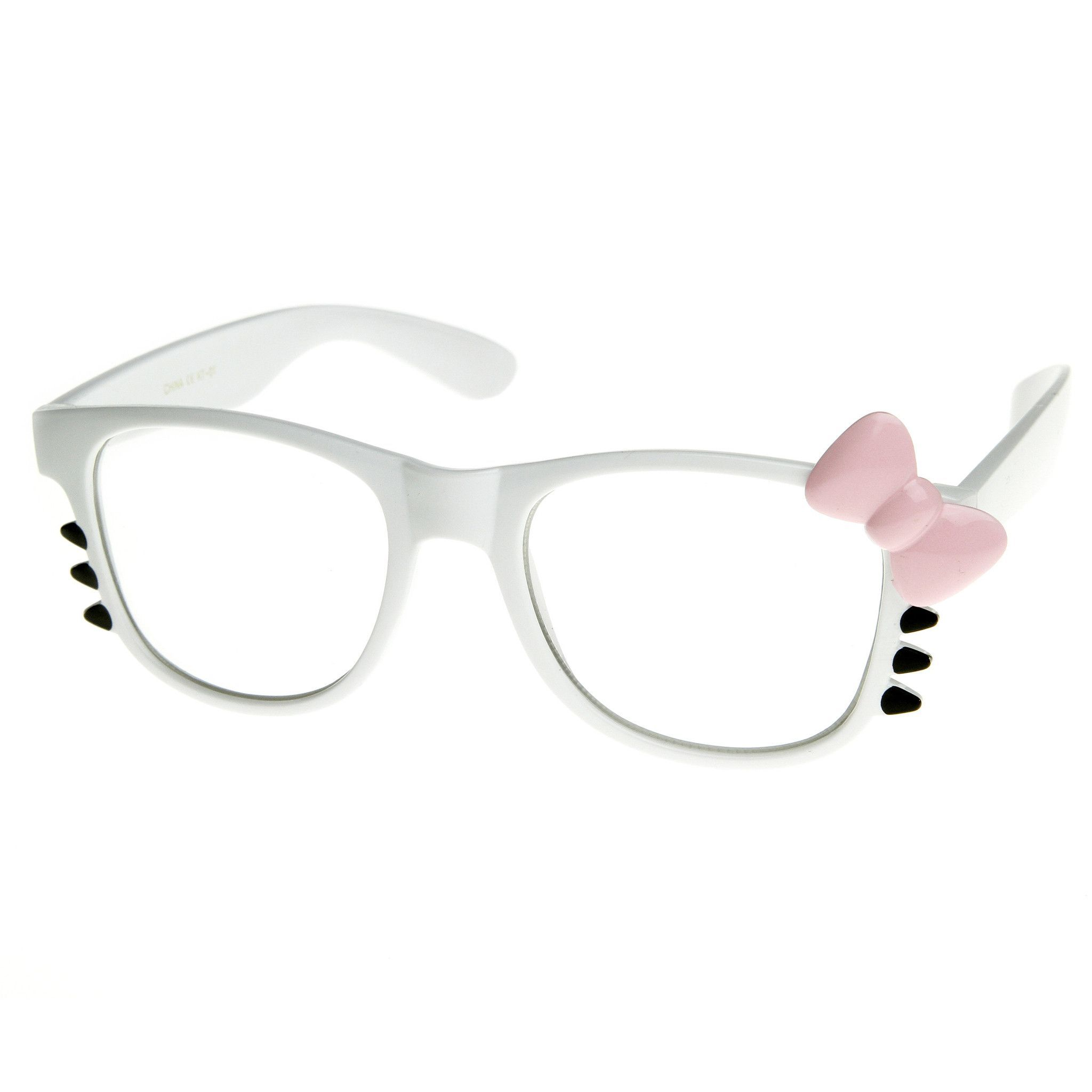 416743c56 Cute Womens Hello Kitty Bow Clear Lens Glasses With Whiskers 8499 ...