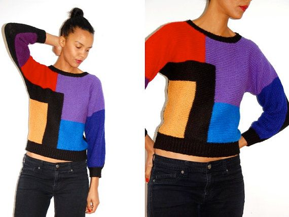 Vtg Color Block 'Mondrian' Cropped Knitted Sweater by LuluTresors, $29.99
