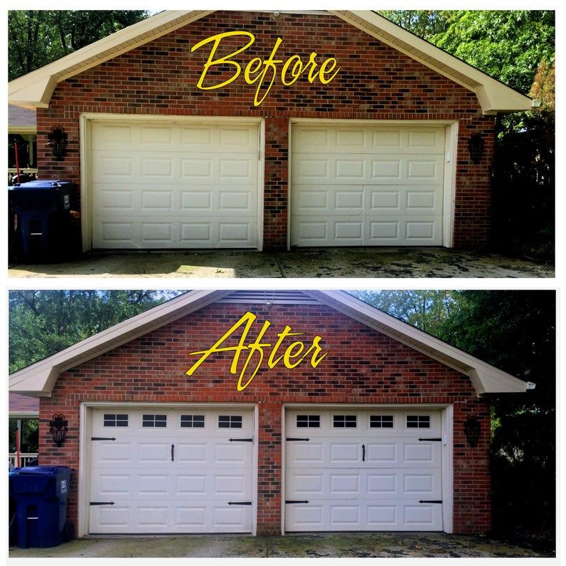 Craftsman Style Faux Garage Door Windows Vinyl Decals No Faux Hardware Included In 2020 Garage Door Windows Faux Garage Door Windows Garage Door Styles