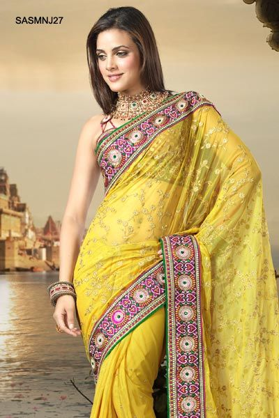$169 Fabulous Net Embroidered Saree From Cbazaar