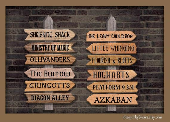 Wizard Theme Decors Photo Props Printable Wooden Arrow Signs