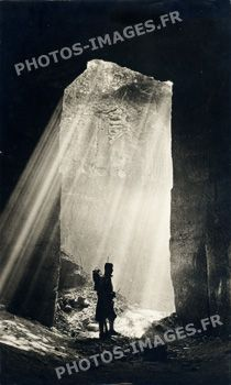 WWI; A sentry on duty at the entrance of a quarry on the Loermont, Oise plateau, Picardy.