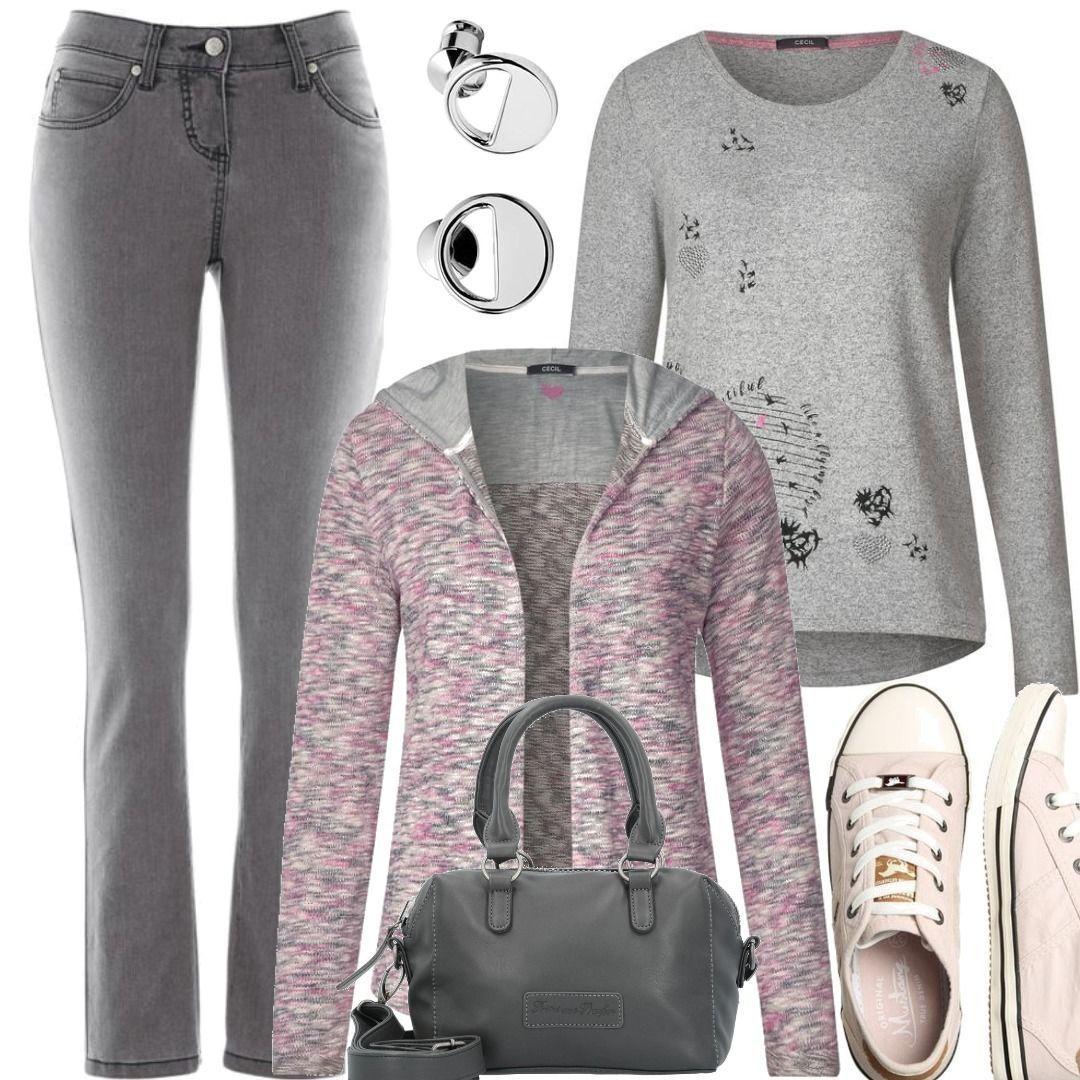 CECIL Frontprint Shirt mineral grey melange Grau