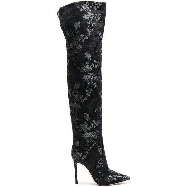 Dolce & Gabbana Floral-printed over-the-knee boots