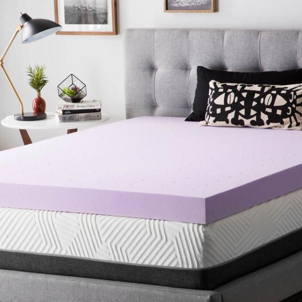 4 Inch Lavender Memory Foam Mattress Topper In 2020 Memory Foam
