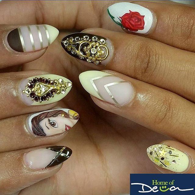 """nail art inspired disney's """"beauty"""