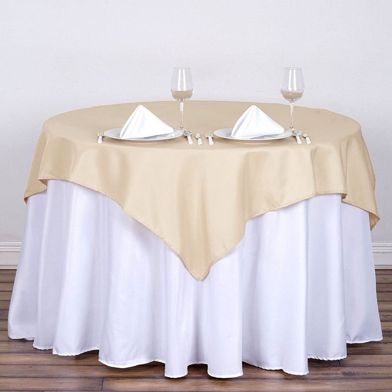 Plain Dyed Polyester Round Square Table Cloth For Wedding