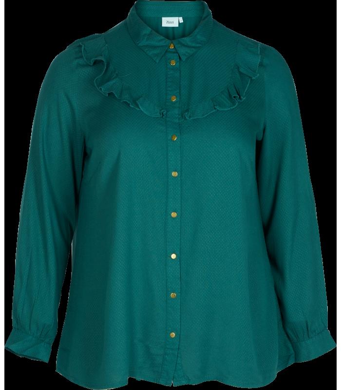 Chemise à volant grande taille marque zizzi pour femme ronde