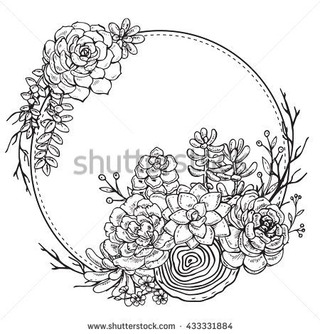 Vector frame with hand drawn composition of succulent plants on ...