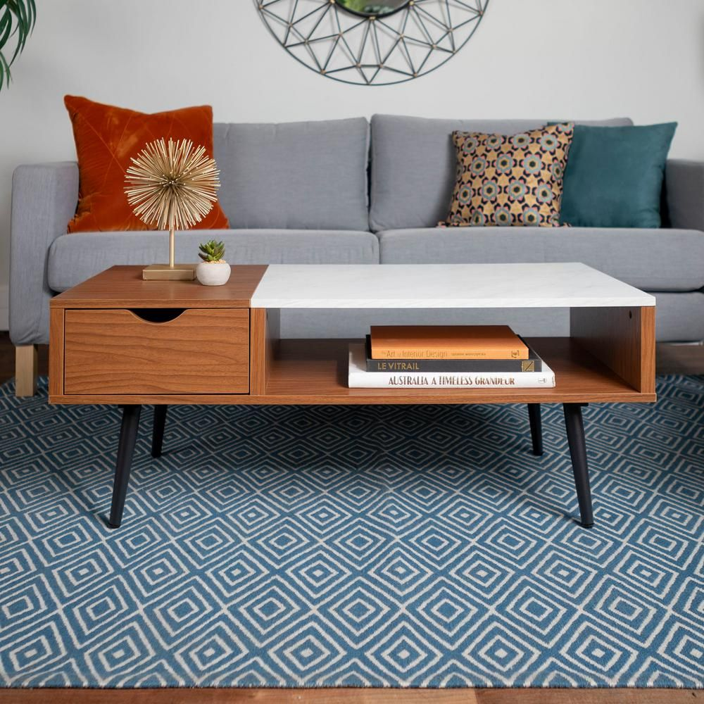 Walker Edison Furniture Company 42 In Pecan White Large Rectangle Mdf Coffee Table With Tappered Legs Hdf42jmmbpc The Home Depot In 2021 Mid Century Modern Coffee Table Mid Century Living Room Mid [ 1000 x 1000 Pixel ]