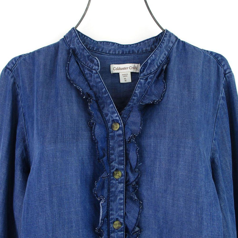 b7082ad20e1 Coldwater Creek XL Top Denim Shirt Plus Size Chambray Poet Ruffle Prairie  Boho  ColdwaterCreek  ButtonDownShirt  Casual