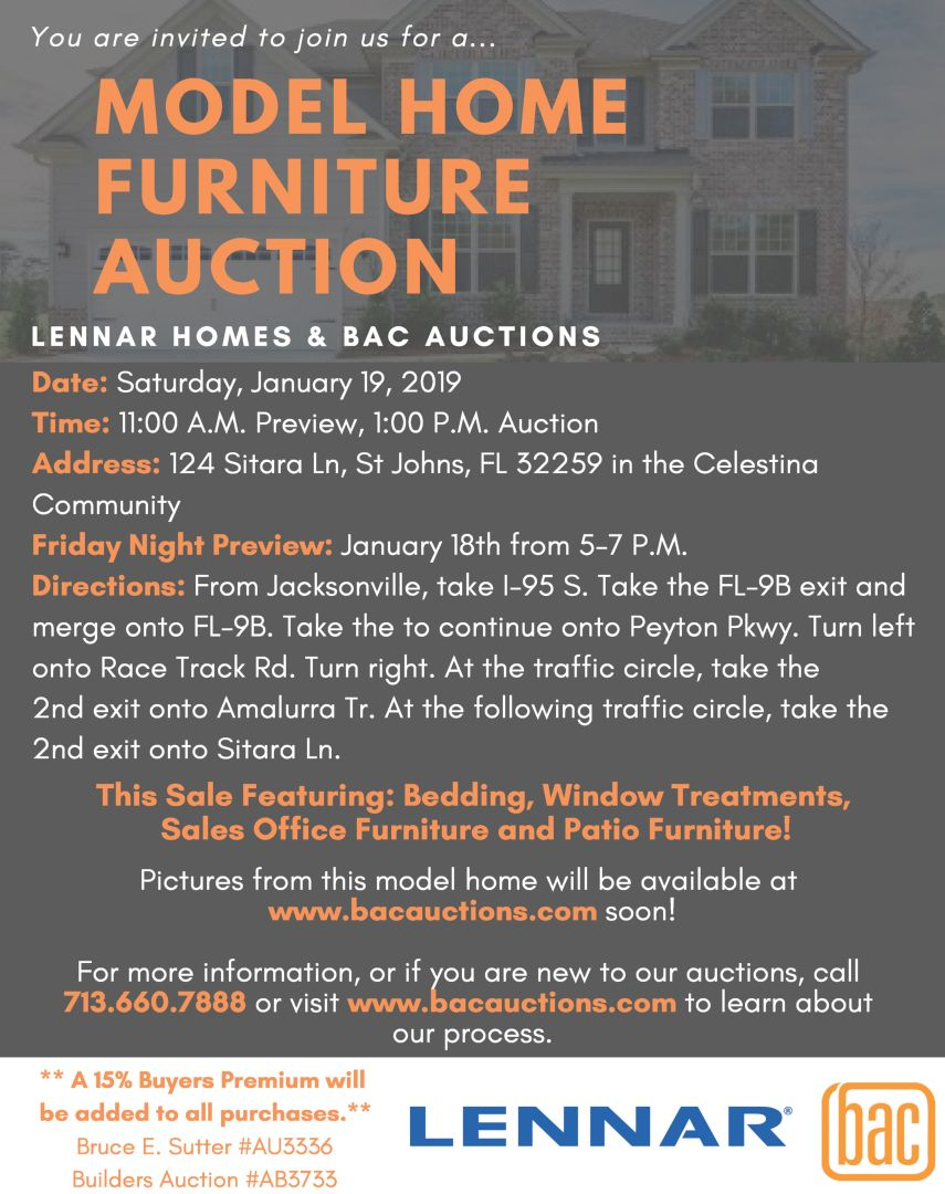 Come On Out To Our Model Home Furniture Auction This Weekend