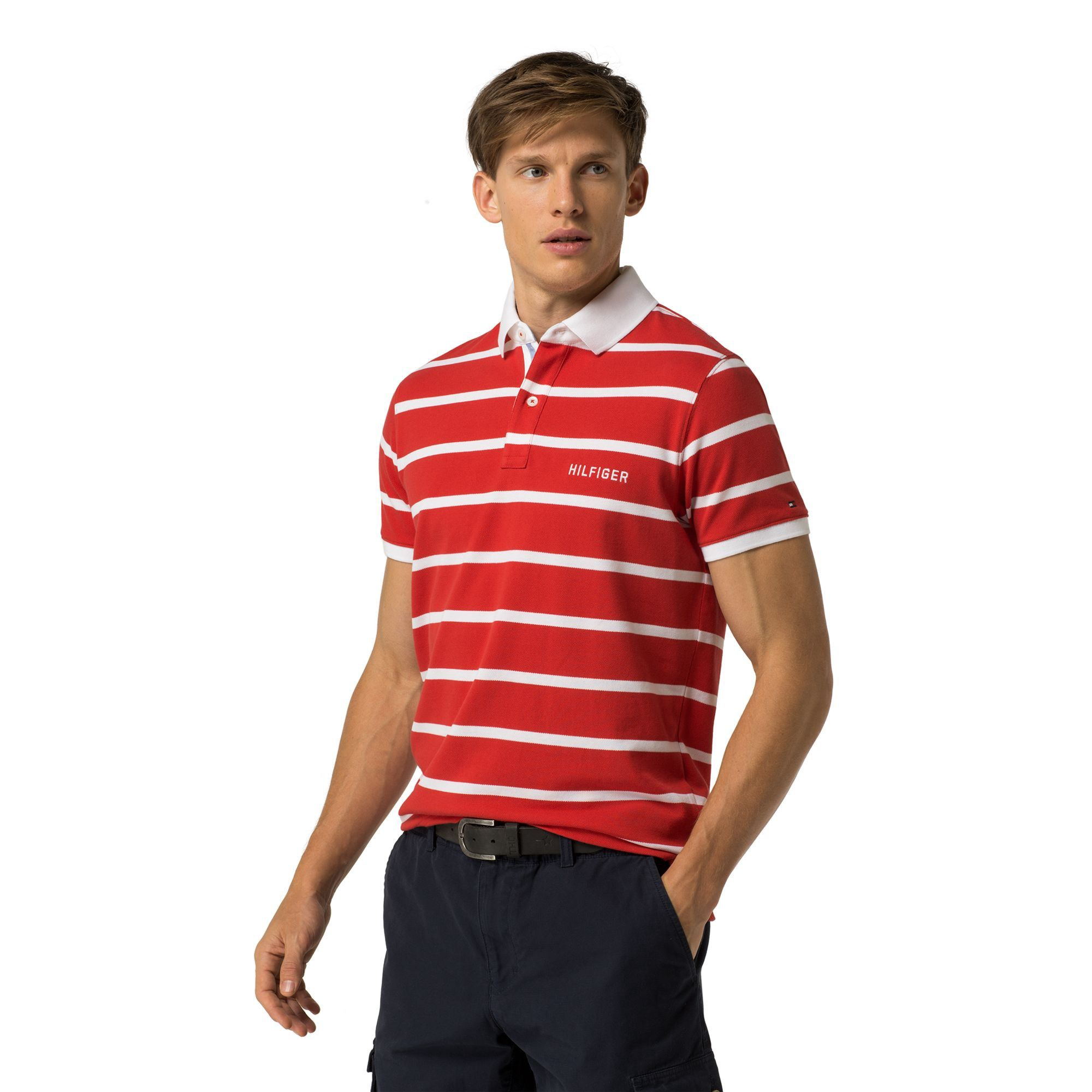 Polos · TOMMY HILFIGER STRIPE SLIM FIT POLO - MARS RED / CLASSIC WHITE.