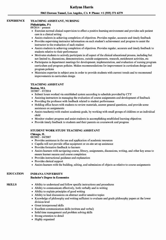 Teacher Aide Job Description Resume Best Of Teaching