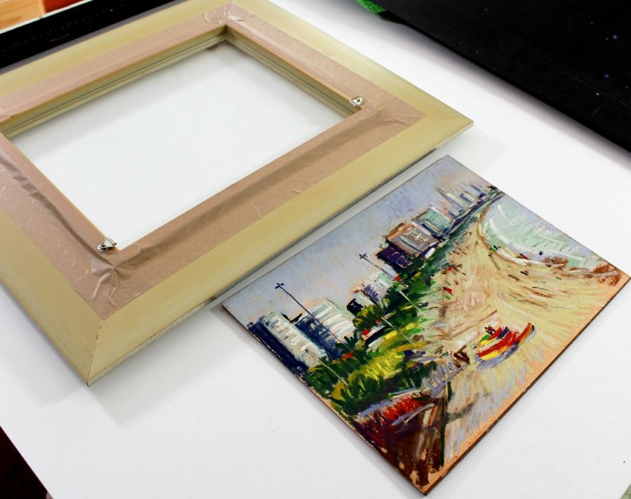 How to frame a pastel painting panel without using a matt