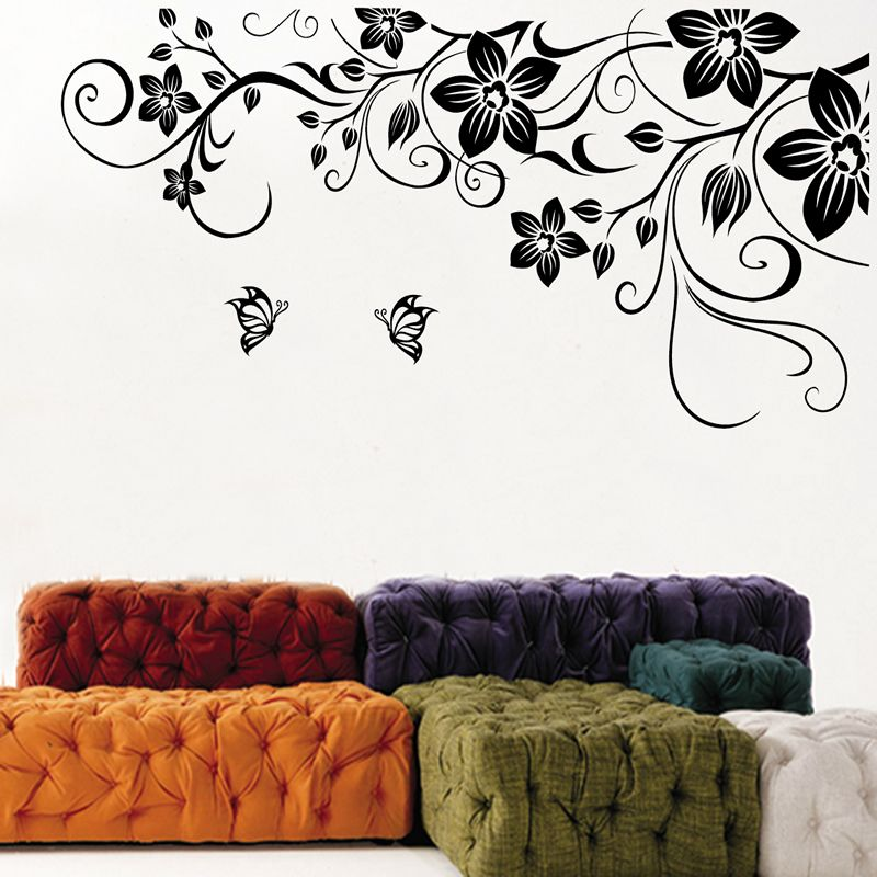 Best Black Flower Wall Decal Stickers Wall Decor Stickers 400 x 300