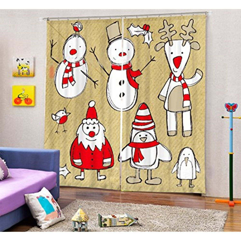 Christmas Decor Curtain Darkening Drapes by LB , Cartoon Snowman ...
