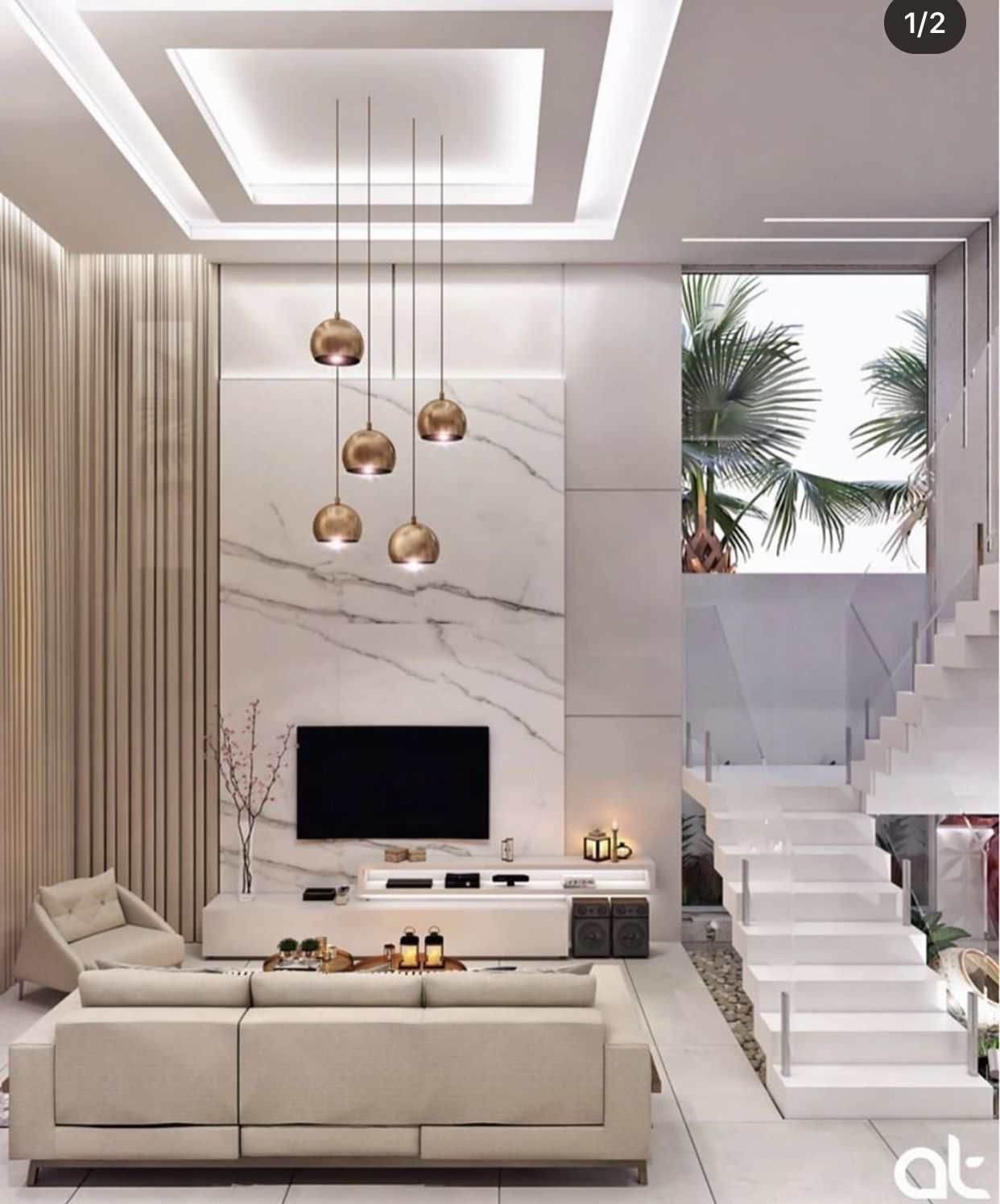Pin by Nidhi Gupta on Small Living room   High ceiling living room ...