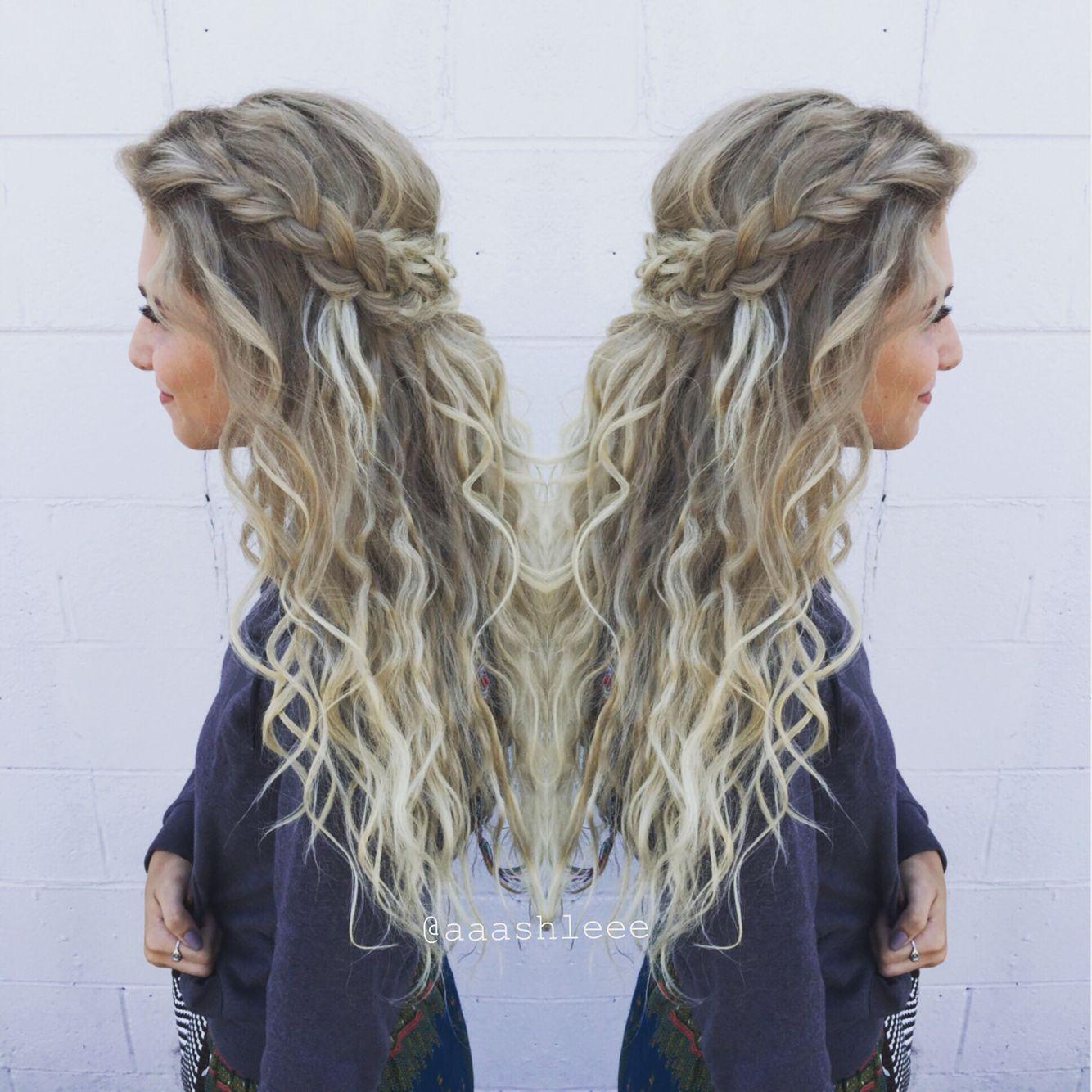 curls long hair blonde balayage