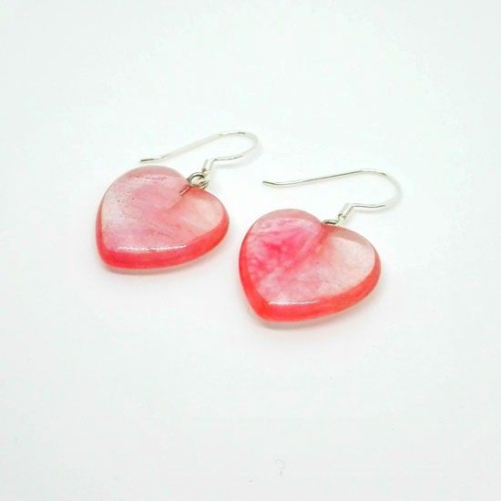 8a261cfeba HANDMADE EARRINGS HEART STRAWBERRY QUARTZ SILVER with Strawberry Quartz in  Heart Shape 20mm and Silver 925 Clasps