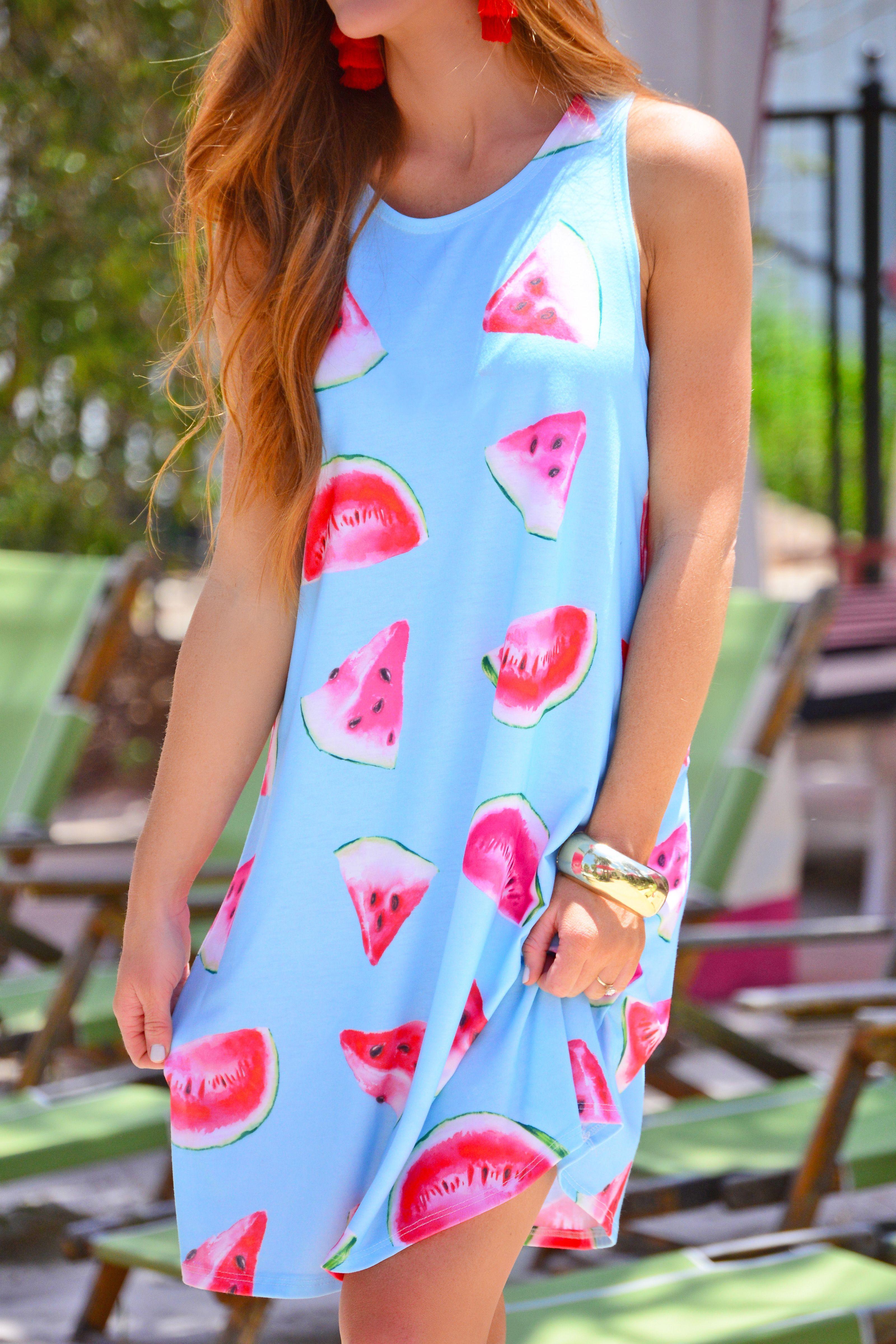 A Swingy Summer Dress With The Cutest Print The Watermelon Print Pops Against The Sky Blue Color The A Line Shape Keeps It E Watermelon Dress Dresses Clothes [ 4800 x 3200 Pixel ]