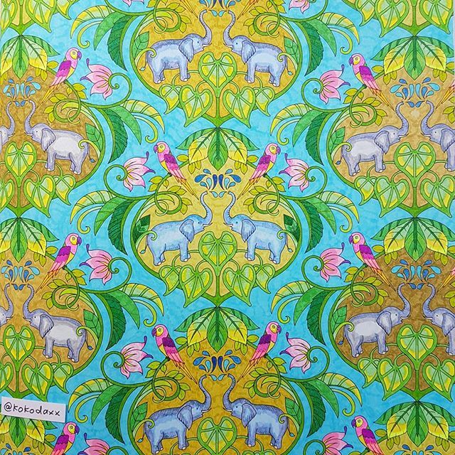 Finished Magicaljungle Johannabasford Coloringbook Malbuchfurerwachsene Elefant Coloring