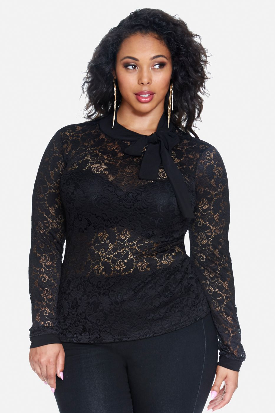 5b5362bf7b9 Tabria Majors in a Lenora Tie Neck Lace Top Plus Size Girls