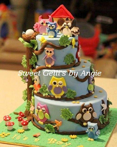 MY OWL FAMILY THEMED CAKE - by SweetGellisbyAngie @ CakesDecor.com - cake decorating website