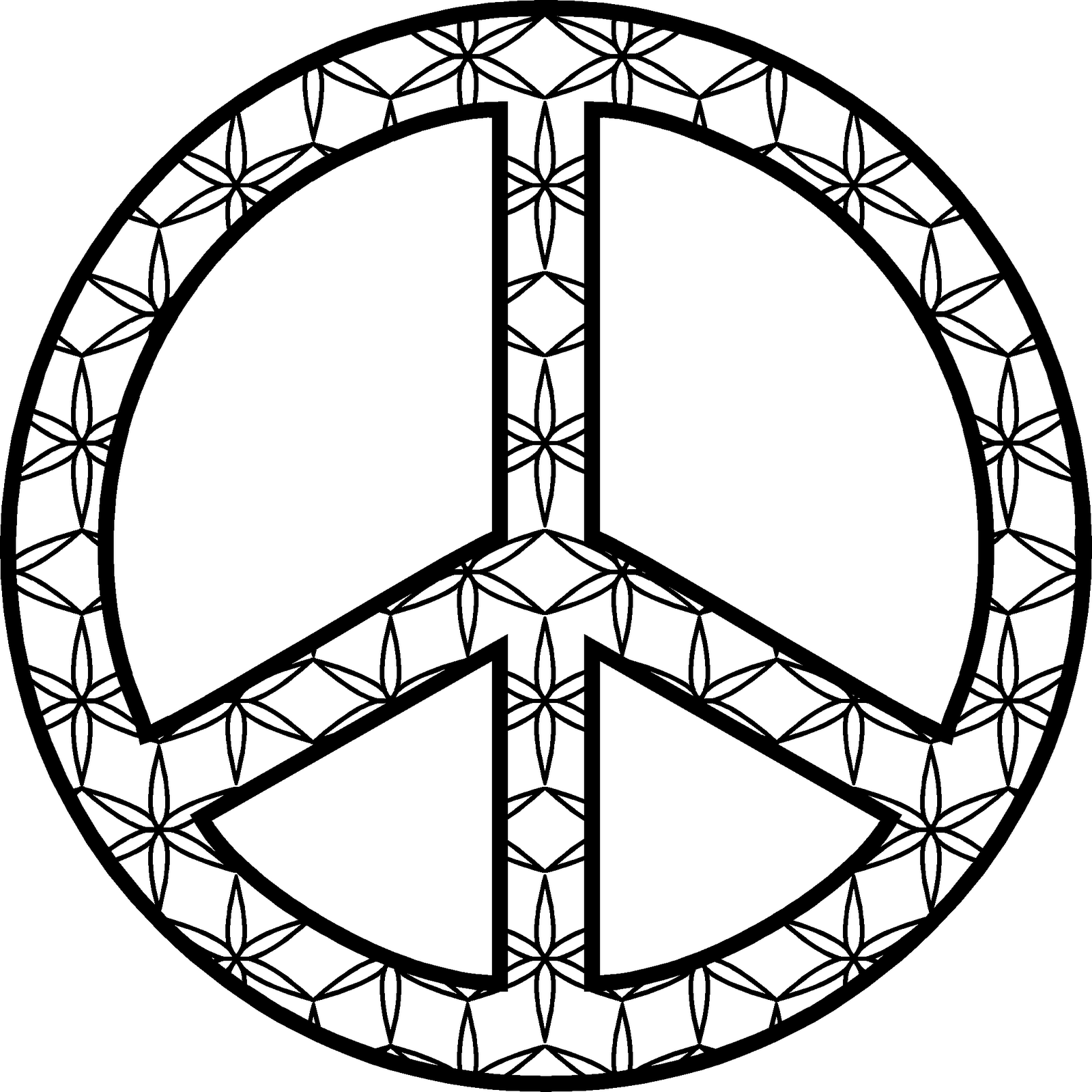 symbol peace sign flower black white line art coloring