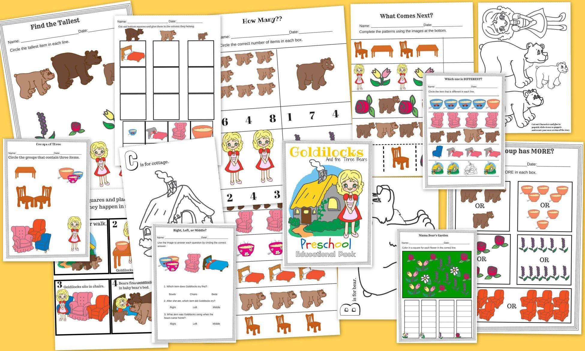 Goldilocks And The Three Bears Free 15 Page Preschool