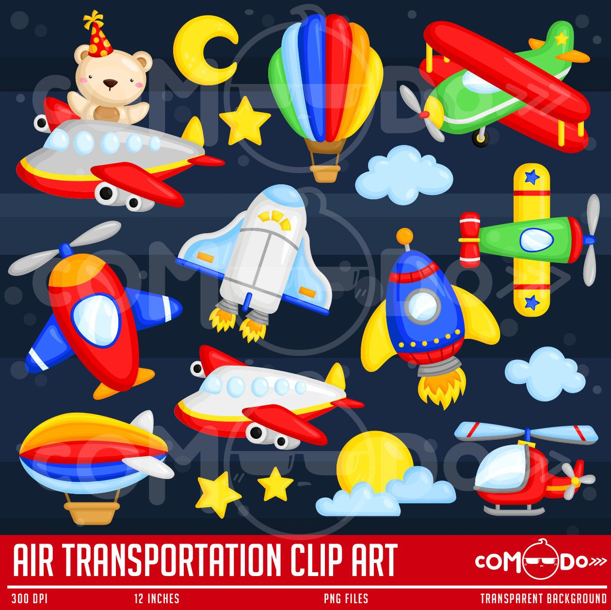 Air Transportation Clipart / Plane Digital Clip Art for