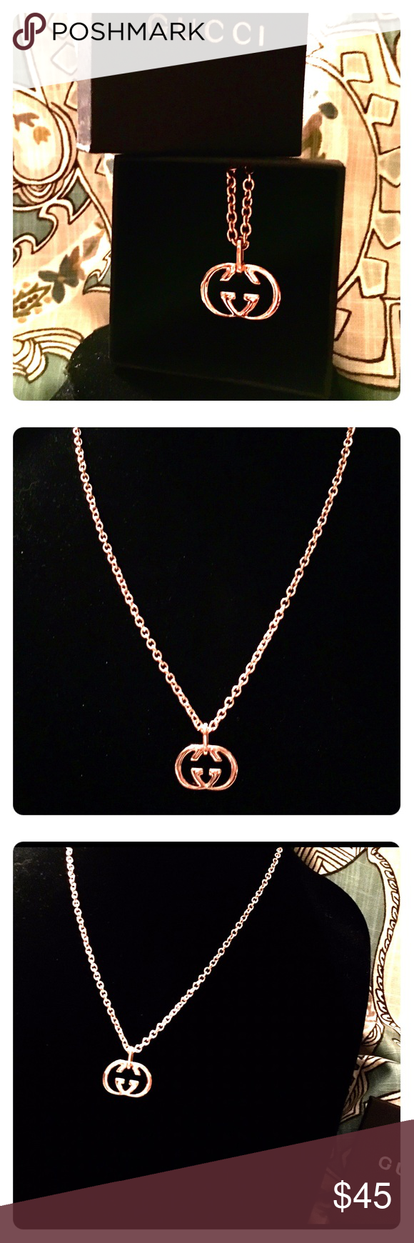 """Rosegold designer inspired logo pendant necklace Costume fashion jewelry inspired by famous designer. Comes w gift box (shown in photo). Pendant size is equal to the size of a quarter. Chain is 30-35"""". Jewelry Necklaces"""